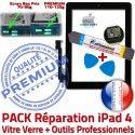 PACK iPad4 A1458 A1459 A1460 N Precollé Qualité Verre Tactile HOME Bouton Vitre KIT iPad Outils Noire Adhésif Démontage Réparation 4 Oléophobe Tablette PREMIUM