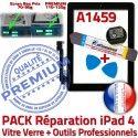 PACK iPad4 A1459 N Tactile 4 Réparation Bouton Adhésif KIT HOME Vitre Oléophobe PREMIUM Noire Verre iPad Démontage Precollé Qualité Outils