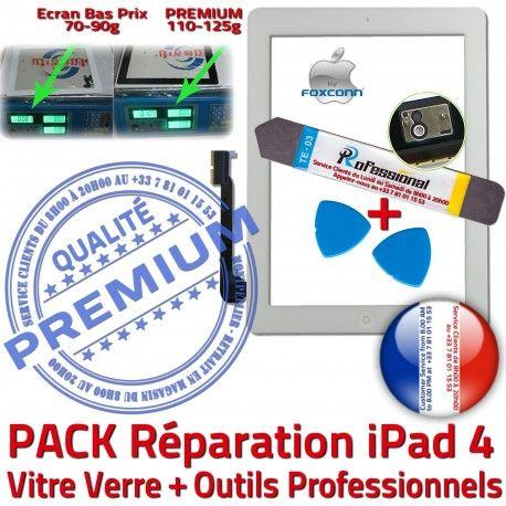 PACK iPad4 A1458 A1459 A1460 B PREMIUM iPad Adhésif HOME Tactile Apple KIT Qualité Precollé Vitre Blanche Oléophobe Démontage Verre 4 Réparation Outils Bouton