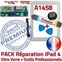 PACK iPad4 A1458 B Vitre Verre Adhésif Precollé HOME 4 Outils PREMIUM Démontage iPad Tactile KIT Blanche Bouton Réparation Qualité Oléophobe