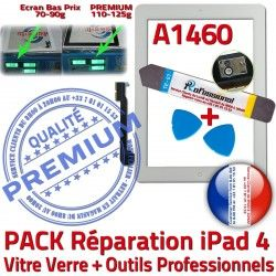 Adhésif Réparation iPad Démontage 4 Blanche Tactile HOME Oléophobe PREMIUM Verre B Qualité PACK KIT Bouton A1460 iPad4 Vitre Outils Precollé