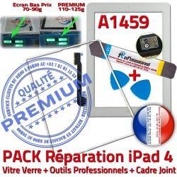 Adhésif A1459 Bouton iLAME iPad Apple Tablette iPad4 Joint 4 PREMIUM Outils Verre B HOME PACK Réparation Tactile Cadre Blanche Precollé Vitre