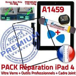 Apple iLAME Vitre Joint 4 Chassis A1459 Verre Tablette Noire iPad Bouton Cadre Tactile N iPad4 Réparation Precollé PACK Adhésif HOME Outils KIT