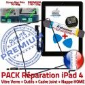 PACK iPad4 iLAME Joint Nappe N iPad Precollé Apple Bouton Verre Tactile Vitre Adhésif Outils Tablette Cadre PREMIUM HOME KIT Réparation Noire 4