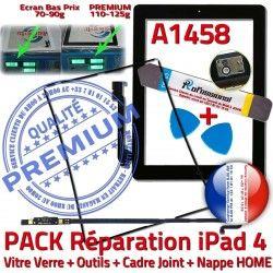 Réparation iLAME Cadre Vitre Adhésif Apple HOME Verre Precollé Bouton A1458 Tablette N Joint Noire PACK Tactile iPad4 Outils Nappe KIT