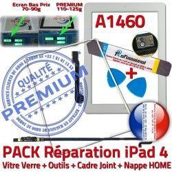 Apple PREMIUM iPad4 Verre Vitre PACK iLAME Precollé Joint B Outils Adhésif Nappe Tablette Blanche Réparation Bouton A1460 Tactile HOME