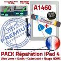 PACK A1460 iLAME Joint Nappe B Verre iPad4 HOME Adhésif Vitre Apple Outils Tablette Bouton Réparation Blanche PREMIUM Tactile Precollé