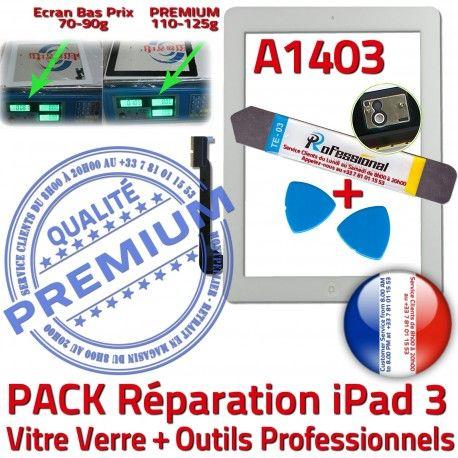 PACK iPad3 A1403 B 3 PREMIUM Tactile Démontage Vitre Outils KIT Qualité Bouton HOME Adhésif Verre Oléophobe iPad Blanche Precollé Réparation