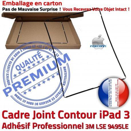 Joint Plastique iPad 3 N Cadre Vitre Ecran ABS Contour Châssis Réparation Noir Autocollant Tactile Adhésif Precollé Tablette Apple
