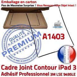 Plastique Vitre N Apple Tactile Joint Cadre Contour iPad Ecran 3 A1403 Noir Tablette Autocollant Precollé Réparation Adhésif Châssis