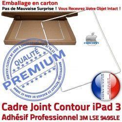 Blanc Tablette B Réparation Joint ABS Contour Adhésif Autocollant Vitre Precollé Tactile Plastique iPad 3 Apple iPad3 Châssis Ecran Cadre