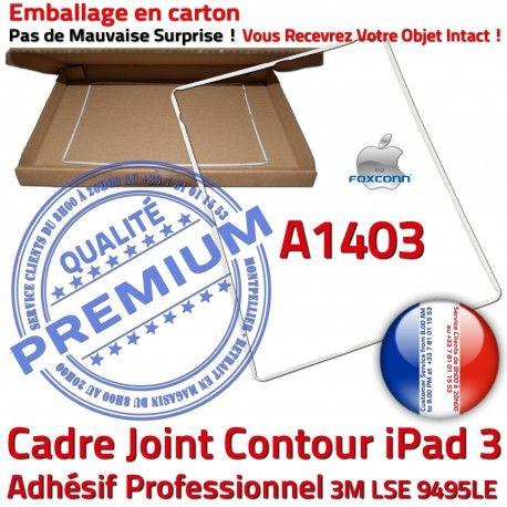 Joint Plastique iPad 3 A1403 B Tactile ABS Adhésif Blanc Châssis Ecran Cadre Autocollant Vitre Tablette Contour Réparation Apple