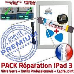 Apple PREMIUM Réparation HOME Verre Vitre Blanche Outils Tablette iPad3 iLAME Joint Bouton Cadre Tactile B Precollé Chassis Adhésif PACK