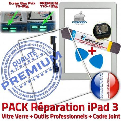 PACK iPad3 iLAME Joint B Verre Vitre Blanche Chassis HOME Tablette Precollé Apple Cadre Adhésif Bouton Outils PREMIUM Tactile Réparation
