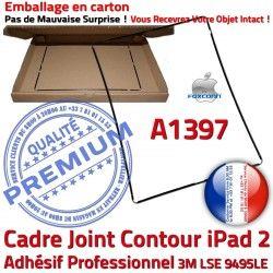 Vitre Contour Plastique Apple A1397 iPad Precollé Joint 2 Cadre Ecran Autocollant Réparation N Tablette Tactile Noir Adhésif Châssis