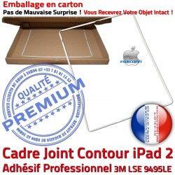 2 Autocollant Châssis B ABS iPad2 Joint Blanc Tablette Vitre Cadre Réparation Ecran Precollé Tactile Contour Adhésif Plastique Apple iPad