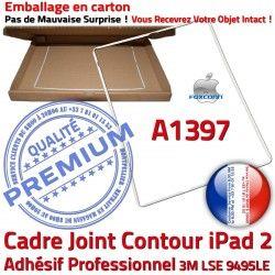 2 Ecran Tablette Tactile Apple Autocollant Adhésif Contour Châssis Cadre B ABS Vitre Réparation iPad Joint Plastique A1397 Blanc