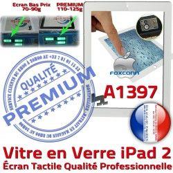 Ecran Apple iPad A1397 Bouton Qualité Verre Oléophobe HOME Vitre iPad2 Precollé Fixation Adhésif PREMIUM Tactile 2 Caméra Blanc Remplacement