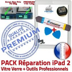 Tactile Oléophobe iPad Adhésif 2 HOME PREMIUM Qualité Precollé Démontage Réparation PACK B Verre A1397 Outils iPad2 A1396 Blanche KIT A1395 Bouton Vitre Apple