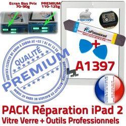 Qualité 2 Adhésif iPad Bouton KIT Réparation Vitre Precollé Oléophobe Tactile Démontage Outils PREMIUM PACK iPad2 A1397 HOME B Verre Blanche