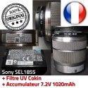Sony SEL1855 Cokin Accumulateur ORIGINAL + UV MC Filtre 7.2V Optique f/3.5-5.6 Objectif Stabilisateur 1020mAh 18mm-55mm 49mm