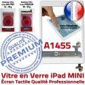 iPad Mini1 A1455 Blanc Bouton Verre Tactile Tablette Adhésif Fixation Monté Home Nappe Oléophobe Filtre Réparation Ecran Caméra Vitre