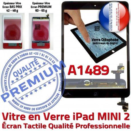 iPad Mini2 A1489 Noir Home Vitre Nappe Filtre Ecran Tablette Verre Caméra Tactile Fixation Oléophobe Monté Adhésif Réparation Bouton