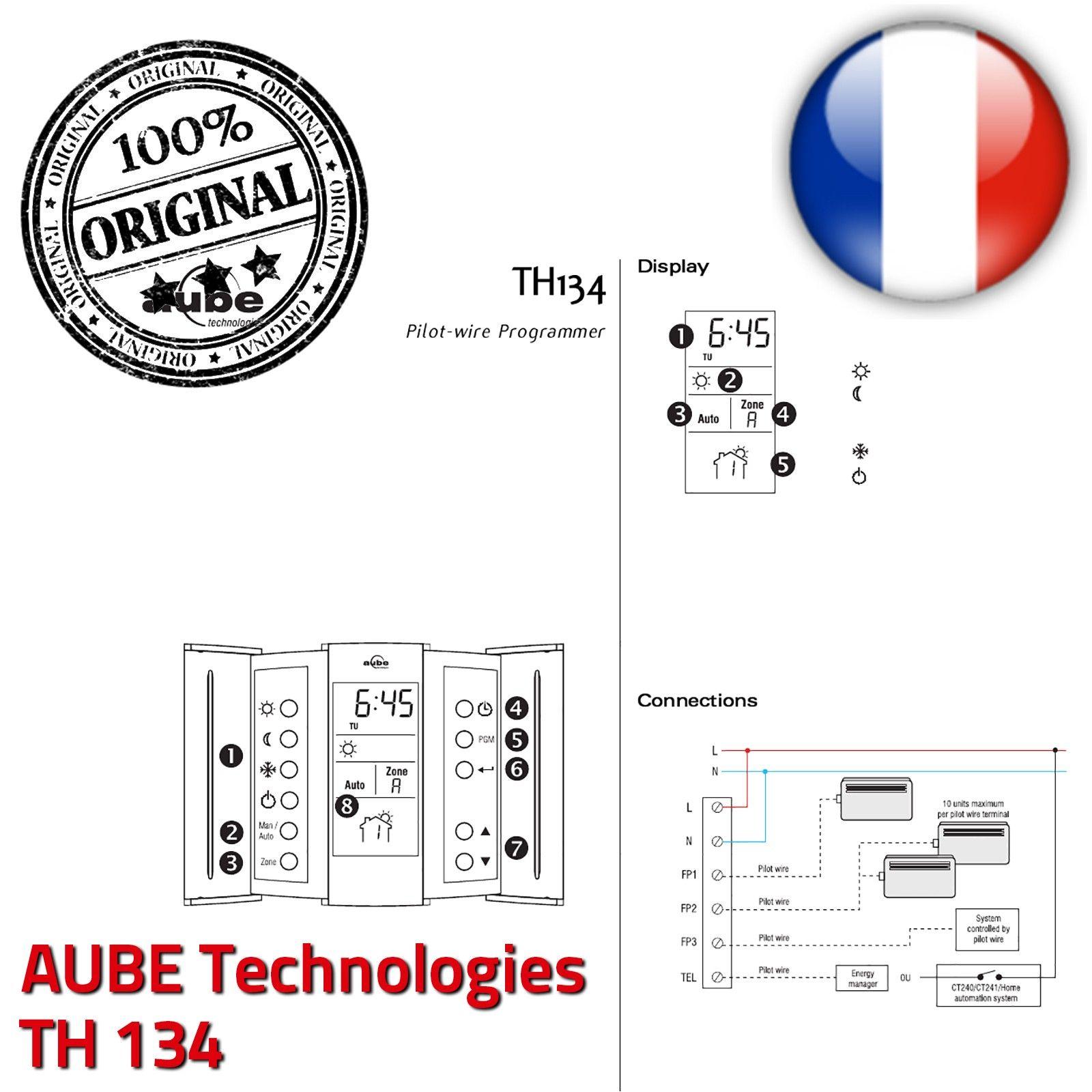 Programmateur 3 zones fil pilote aube th134 lectronique horaire pr programm commande chauffage for Programmateur chauffage electrique fil pilote connecte