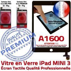 Verre Réparation Bouton Vitre Filtre Caméra Oléophobe iPad Monté Mini3 Ecran Noir A1600 Tactile Home Tablette Adhésif Nappe Fixation