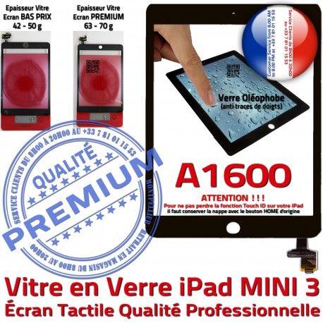 Mini3 iPad A1600 Noir Home Réparation Filtre Adhésif Ecran Verre Vitre Tactile Caméra Nappe Oléophobe Fixation Bouton Monté Tablette