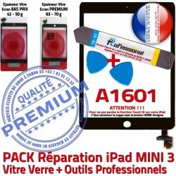 Tablette Outils Touch KIT Vitre Qualité Attention Verre 3 A1601 Precollé Mini ID N iPad MINI Tactile Adhésif PREMIUM Réparation PACK Noire