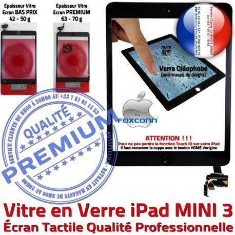iPad Mini3 A1599 A1600 Noir 3 Filtre Adhésif Home Fixation Verre Oléophobe Bouton MINI Caméra Réparation Vitre Tactile Tablette Ecran Nappe Monté
