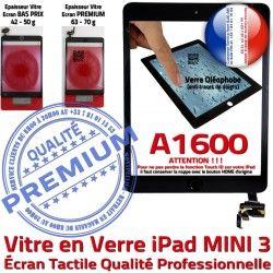 Adhésif Verre Filtre Nappe Tablette Bouton Caméra Ecran Réparation A1600 iPad Fixation Home Oléophobe Noir Mini3 Vitre Tactile Monté