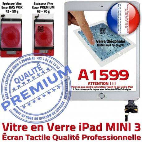 iPad Mini3 A1599 Blanc Vitre Fixation Bouton Tactile Adhésif Nappe Verre Caméra Filtre Oléophobe Réparation Monté Tablette Home Ecran
