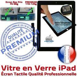 Oléophobe iPad Ecran Noire Fixation iPad4 HOME Tactile Réparation Adhésif Vitre Precollé Bouton Verre PREMIUM Qualité Caméra Installé iPad3 Apple