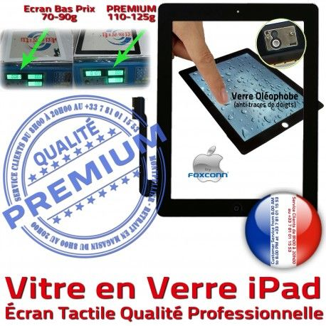 Vitre iPad3 iPad4 Apple Noire Bouton Qualité iPad PREMIUM HOME Caméra Fixation Tactile Réparation Precollé Ecran Verre Installé Adhésif Oléophobe