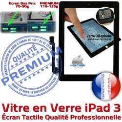 Nappe PREMIUM Noir iPad3 Apple Qualité Caméra 3 Verre A1430 Precollé HOME Vitre iPad Oléophobe Adhésif A1403 Tactile Bouton Ecran A1416 Remplacement PN Fixation