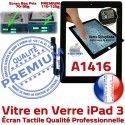 iPad3 Apple A1416 Noir Tactile HOME Precollé Remplacement iPad Verre 3 Adhésif Oléophobe Vitre PREMIUM Bouton Fixation Ecran Qualité Caméra