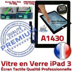 Ecran Apple PREMIUM Remplacement Fixation Verre 3 Adhésif Qualité Oléophobe Precollé HOME Tactile Bouton iPad A1430 Vitre Noir iPad3 Caméra