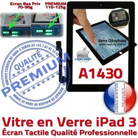 iPad3 Apple A1430 Noir Fixation Qualité Remplacement Vitre Verre Ecran Oléophobe Precollé PREMIUM 3 Tactile iPad Caméra Adhésif Bouton HOME
