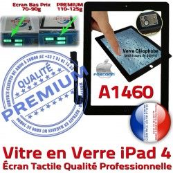 Vitre PREMIUM Apple Fixation iPad Qualité Ecran 4 Adhésif iPad4 Verre Precollé Noir Caméra Tactile Bouton Remplacement HOME A1460 Oléophobe