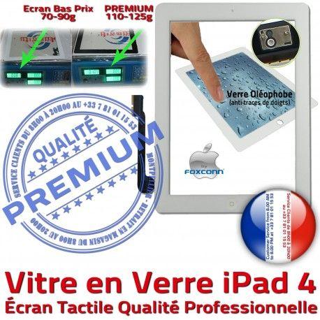 iPad4 Apple A1458 A1459 A1460 PB Vitre Verre Remplacement Qualité 4 Oléophobe Blanc Adhésif Tactile Bouton Fixation Caméra iPad PREMIUM Ecran HOME Precollé