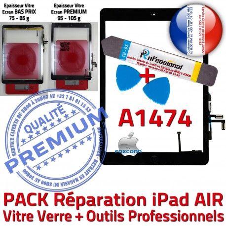 PACK iPad AIR A1474 N Qualité Vitre HOME PREMIUM Adhésif Precollé Noire Outils Réparation KIT Démontage Bouton Tactile Oléophobe Verre