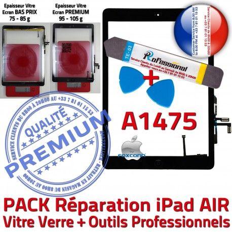 PACK iPad AIR A1475 N Adhésif HOME PREMIUM Qualité Precollé KIT Oléophobe Noire Tactile Outils Bouton Verre Démontage Réparation Vitre