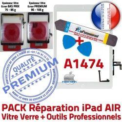 KIT Precollé Verre AIR A1474 iPad Tactile Bouton HOME Outils Qualité PACK Blanche Oléophobe Nappe Vitre Réparation B Adhésif PREMIUM