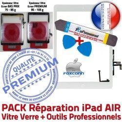 KIT Réparation PACK iPad Bouton Tactile AIR Nappe Qualité Blanche Vitre Verre B iLAME Adhésif 5 Oléophobe Precollé Outils PREMIUM HOME