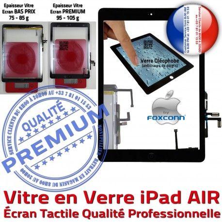 iPad AIR iPad5 Noir Bouton Réparation Qualité Vitre Ecran Caméra Tablette Adhésif Monté Oléophobe Nappe Verre 5 Fixation HOME Tactile