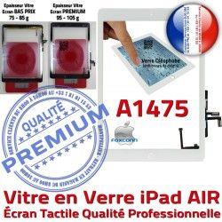 Blanc Verre Ecran Adhésif HOME AIR Qualité Réparation IC Oléophobe Tactile Nappe Tablette Caméra iPad Vitre Fixation Monté A1475
