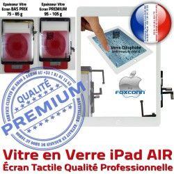 iPad5 Réparation iPad Ecran Oléophobe Qualité Blanc Tactile Monté Fixation Vitre Adhésif Bouton AIR Verre Caméra Tablette Nappe 5 HOME