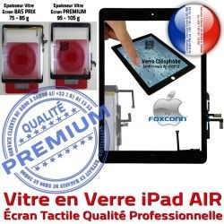 A1474 A1475 Noir Verre iPadAIR Adhésif AIR iPad PREMIUM Bouton Remplacement A1476 Caméra Oléophobe A++ Tactile Vitre Precollé Ecran Qualité Fixation HOME